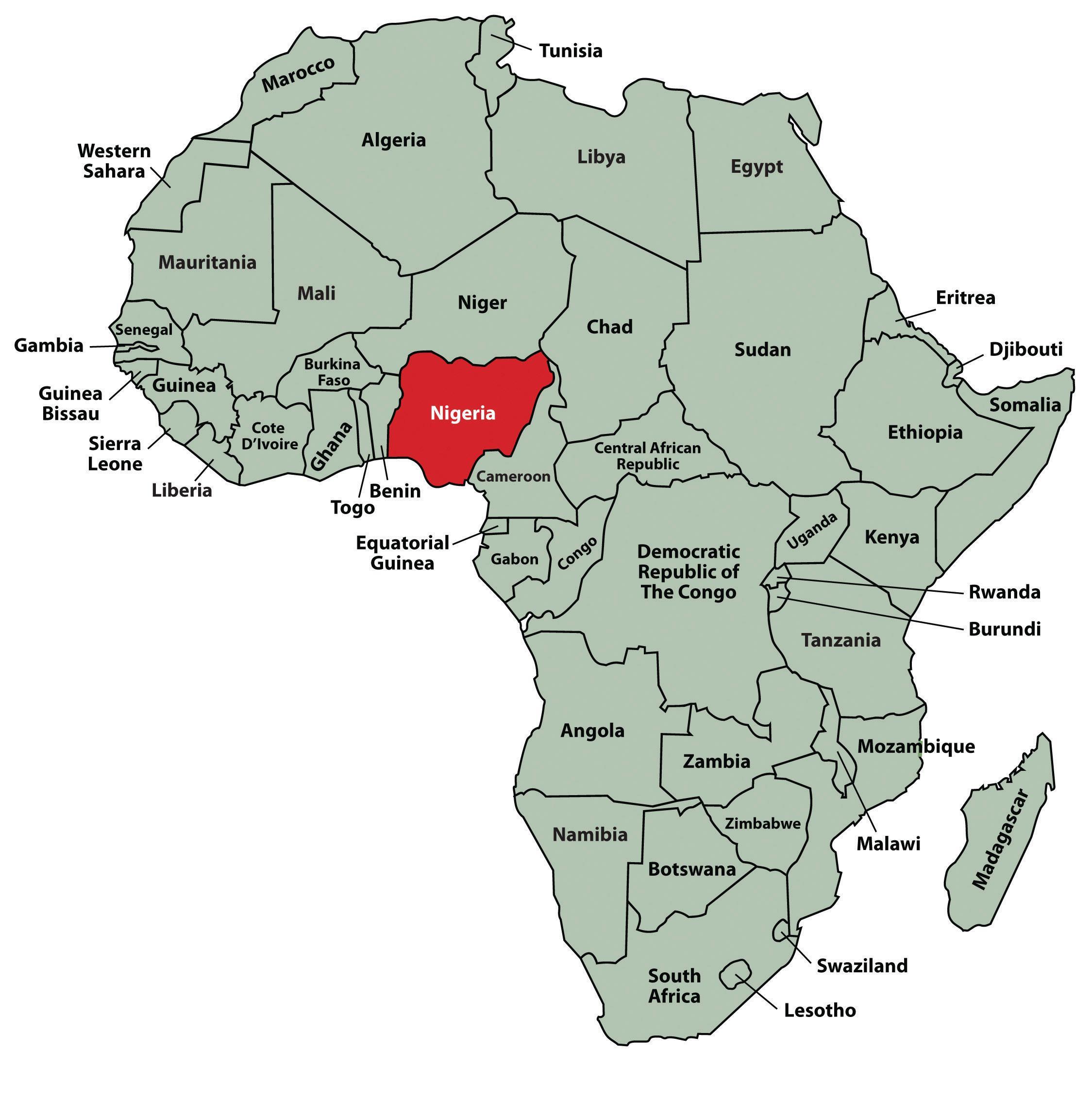 Nigéria localização no mapa de áfrica - Mapa da nigéria ...